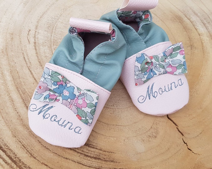 Soft leather, faux leather, baby slipper, girl's slipper, child's slipper, custom slipper, liberty knot