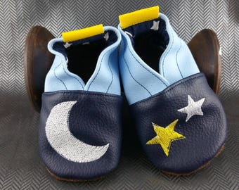 Soft leather slippers, faux leather, baby slipper, boy slipper, girl slipper, child slipper, custom slipper, moon, stars