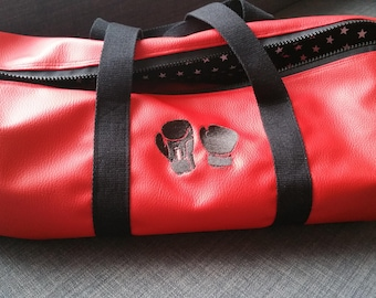Duffel bag, faux leather, sports, weekend, embroidered, boxing, sports bag, personalized,