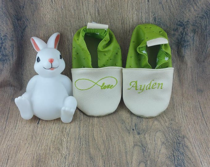 Soft leather slippers, faux leather, baby slipper, boy slipper, girl slipper, child slipper, custom slipper, infinity
