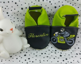 Slippers soft leather, leatherette shoe baby Bootie boy, girl, kids slippers, slippers custom slippers, biker, motorcycle