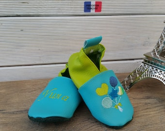 Slippers soft leather, leatherette shoe baby Bootie boy, girl, kids slippers, slippers custom slippers, balloons