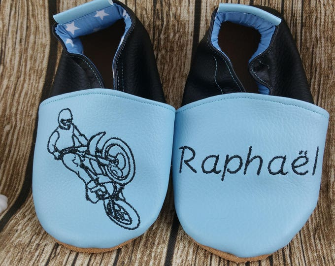 Soft leather slippers, faux leather, baby slipper, boy slipper, girl slipper, child slipper, custom slipper, motocross