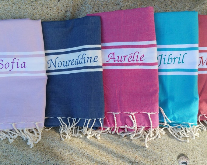 Embroidered fouta (The batch of 5 custom embroidered foutas)