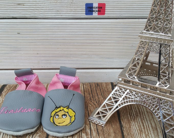 Soft leather slippers, faux leather, baby slipper, boy slipper, girl slipper, child slipper, bee slipper, bee slippers