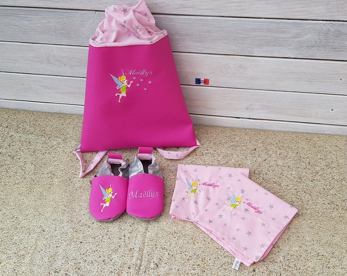Set consisting of a kindergarten backpack, canteen towel duo and a pair of soft booties