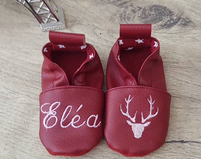 Soft leather slippers, faux leather, baby slipper, boy slipper, girl slipper, child slipper, custom slipper, deer head