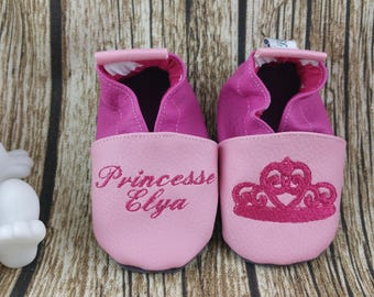 Soft leather slippers, faux leather, baby slipper, boy slipper, girl slipper, child slipper, custom slipper, crown