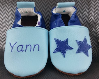 Slippers soft leather, leatherette shoe baby Bootie boy, girl, kids slippers, slippers custom slippers, stars