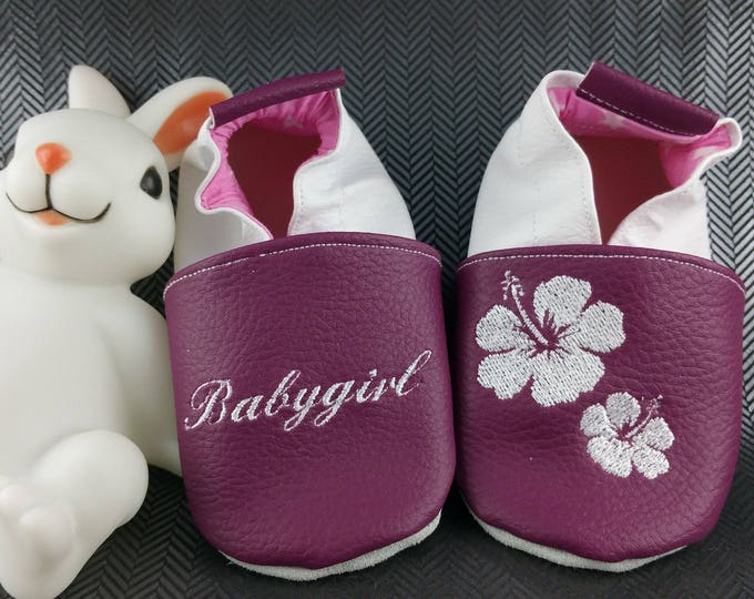 Soft leather slippers, faux leather, baby slipper, boy slipper, girl slipper, child slipper, custom slipper, flower, hibiscus