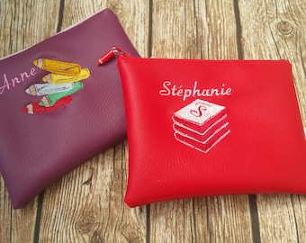 Clutch faux leather clutch, Center pocket, Pocket MOM clutch purse, embroidered, personalized