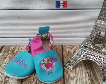 Soft leather slippers, faux leather, baby slipper, boy slipper, girl slipper, child slipper, custom slipper, bird, piou