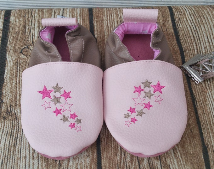 Soft booties children shoes leather Bootie slipper girl Bootie personalized, embroidered, stars, baby booties-star