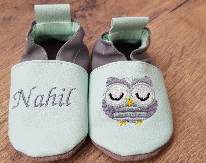 Soft leather slippers, faux leather, baby slipper, boy slipper, girl slipper, child shoe, custom slipper, owl, owl