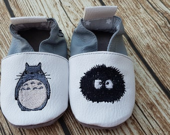 Slippers soft leather, leatherette, shoe baby Bootie shoe girl, child, boy, custom shoe, totoro, name