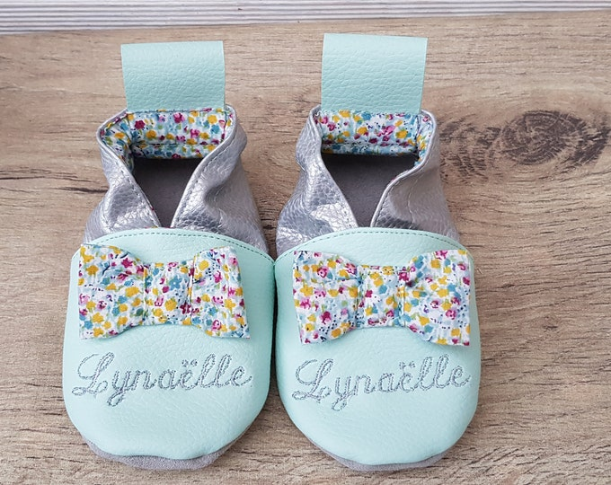 Soft leather, faux leather, baby slipper, girl's slipper, child's slipper, limited edition knot small flowers