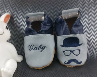 Slippers soft leather, leatherette shoe baby Bootie boy, girl, kids slippers, slippers custom slippers, bezel and hat
