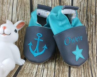 Slippers soft leather, leatherette shoe baby shoe, boy, girl, kids slippers, slipper personalized shoe slipper, anchor