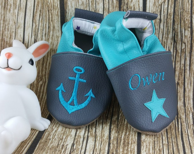 Soft leather slippers, faux leather, baby slipper, boy slipper, girl slipper, child slipper, custom slipper, anchor, navy