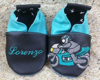 Slippers soft leather, leatherette, slippers, baby, boy, girl, kids slippers, slipper personalized shoe slipper motorcycle race