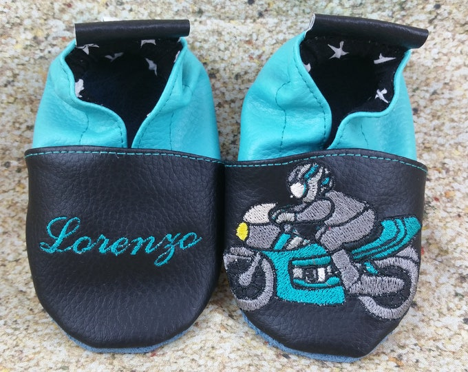 Soft leather slippers, faux leather, baby slipper, boy slipper, girl slipper, child slipper, custom slipper, motorcycle race