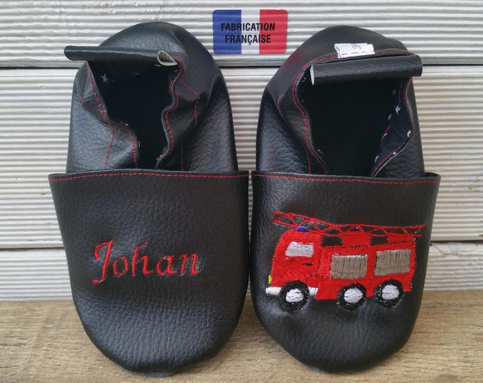 Soft leather slippers, faux leather, baby slipper, boy slipper, girl slipper, child slipper, custom slipper, fireman