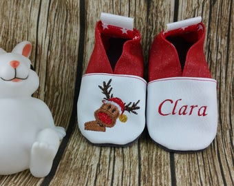 Slippers soft leather, leatherette, slippers, baby, boy, girl, kids slippers, slipper personalized shoe slipper Christmas