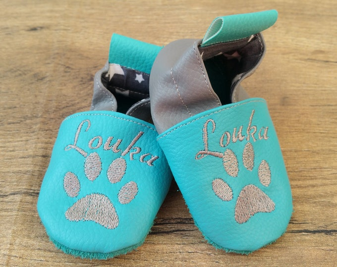 Soft leather slippers, faux leather, baby slipper, boy slipper, girl slipper, child slipper, custom slipper, cat, paws