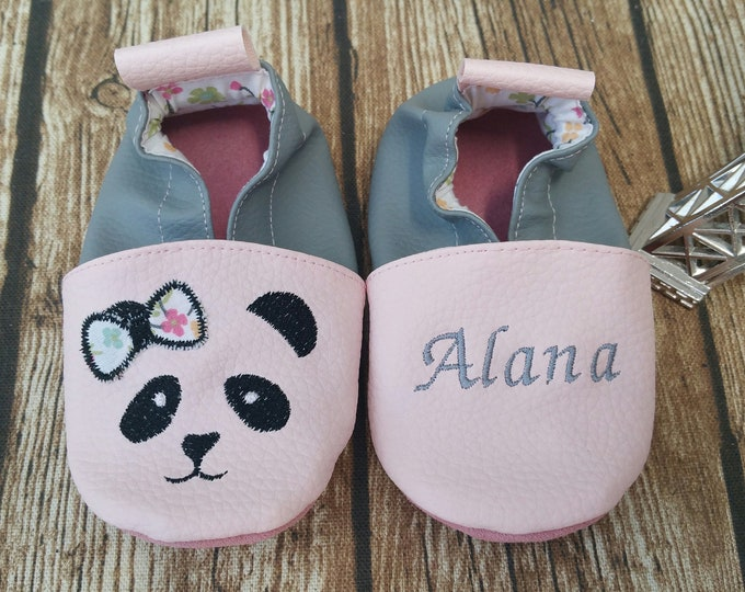 Soft leather slippers, faux leather, baby slipper, boy slipper, girl slipper, child slipper, custom slipper, panda