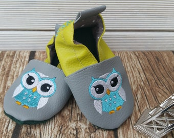 Slippers soft leather, leatherette slipper baby, boy, girl, kids slippers, baby OWL booties slipper shoe booties OWL