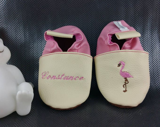 Featured listing image: Soft leather, leatherette, slippers, baby, boy, girl, kids slippers, slipper personalized shoe slipper Flamingo pink booties