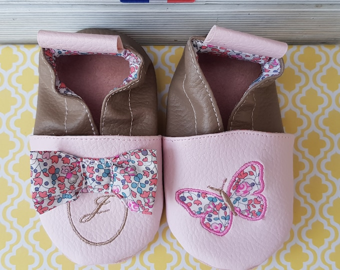 Soft leather slippers, faux leather, liberty and butterfly knot, child slipper, custom slipper