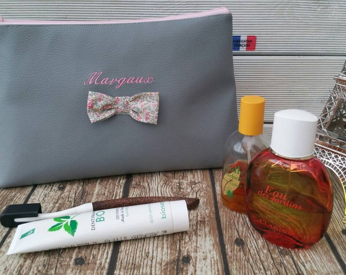 Faux leather toiletry bag 25x17, liberty, embroidered, personalized,