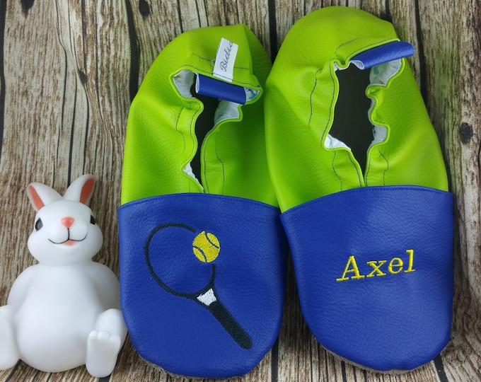 Soft leather slippers, faux leather, baby slipper, boy slipper, girl slipper, child slipper, custom slipper, tennis