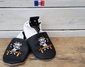 Slippers soft leather baby - child - adult personalize embroidered cow
