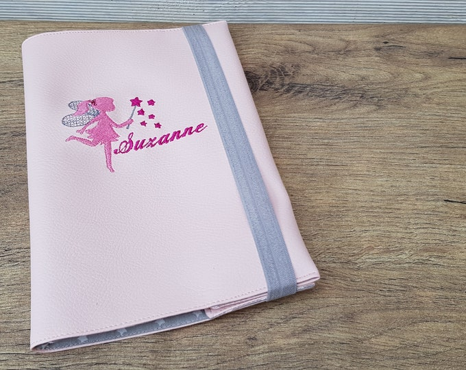 Health booklet protection cover leatherette, girl, fairy, custom embroidered