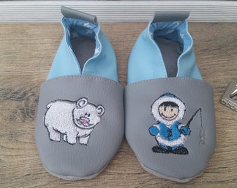 Slippers soft leather, leatherette shoe baby Bootie boy, girl, kids slippers, polar bear slippers, Popsicle