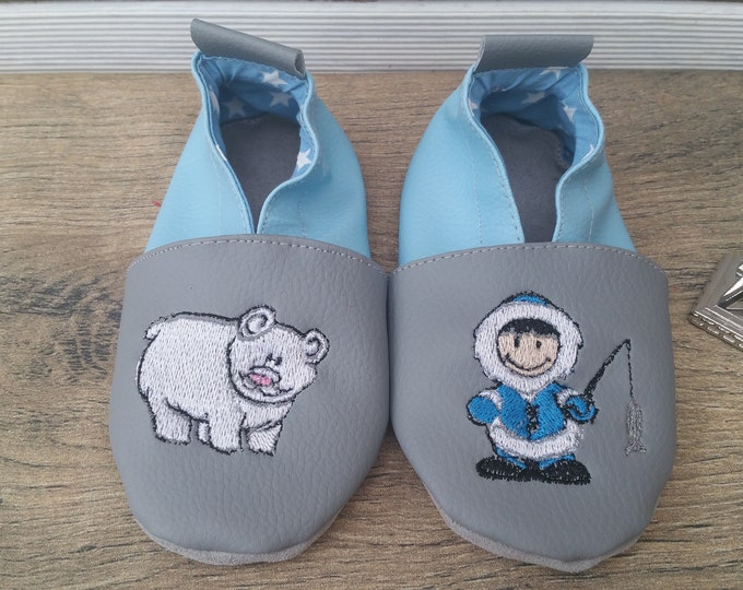Soft leather slippers, faux leather, baby slipper, boy slipper, girl slipper, child slipper, polar bear, eskimo