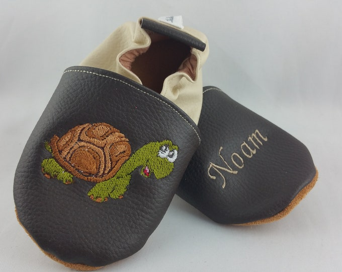 Soft leather slippers, faux leather, baby slipper, boy slipper, girl slipper, child slipper, custom slipper, earth turtle