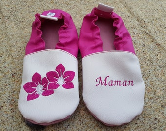 Slippers soft leather, leatherette, adult slippers, baby Granny, mother's day, flowers