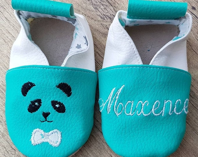 Soft leather slippers, faux leather, baby slipper, boy slipper, girl slipper, child, custom slipper, panda, first name