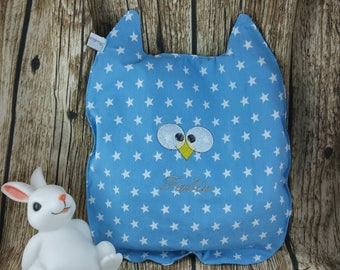 "Heating pad, water bottle ""Calicho"" OWL heating pad, heating pad, blue heating pad, custom bottle"