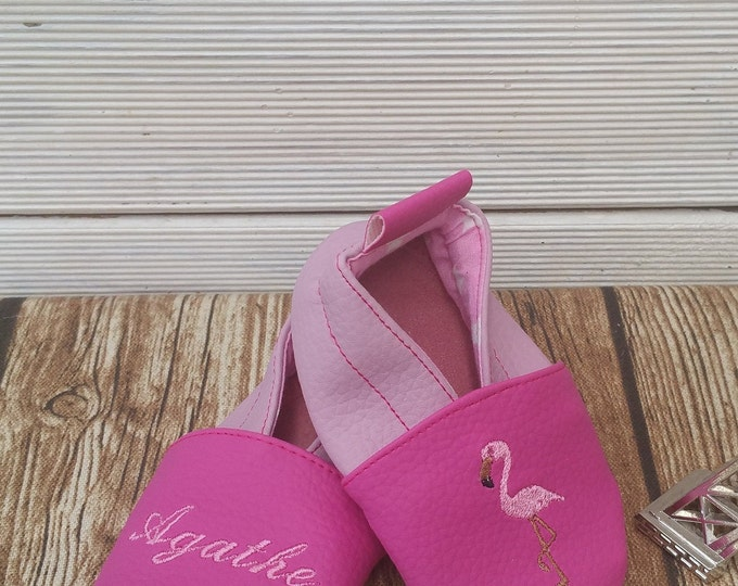 Soft leather slippers, faux leather, baby slipper, boy slipper, girl slipper, child slipper, custom slipper, pink flemish