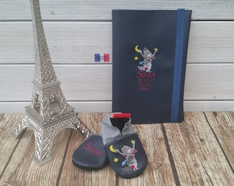 Gift to personalize: slippers and health booklet protection cover
