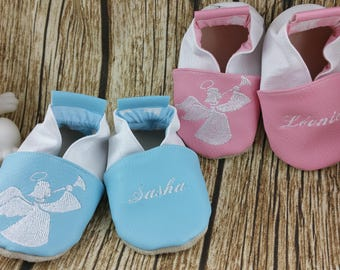Baby shoes soft leather, leatherette, boy, girl, kids slippers, slipper personalized shoe slipper angels, Angel