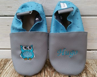 Slippers soft leather, leatherette shoe baby Bootie boy, girl, kids slippers, slippers custom slippers, OWL