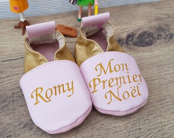 Slippers soft leather, leatherette slipper baby my first Christmas to customize