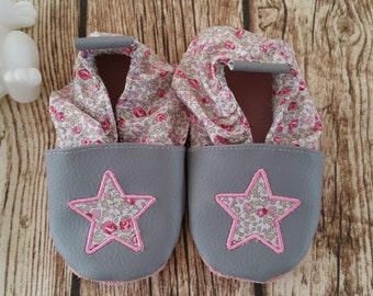 Soft booties leather and faux leather, baby, boy, girl, child slipper shoe slipper shoe, Star, personalised shoe