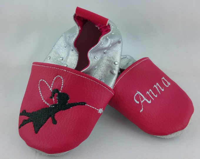 Soft leather slippers, faux leather, baby slipper, boy slipper, girl slipper, child slipper, custom slipper, flying fairy
