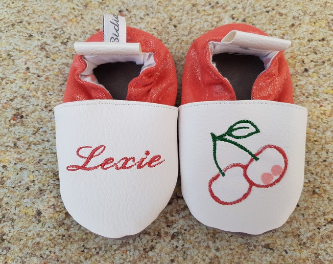 Soft leather slippers, faux leather, baby slipper, boy slipper, girl slipper, child slipper, custom slipper, cherry
